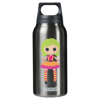 Muñeca de trapo femenina retra botella isotérmica de agua