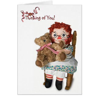 Muñeca de trapo para pensar en usted tarjeta de felicitación