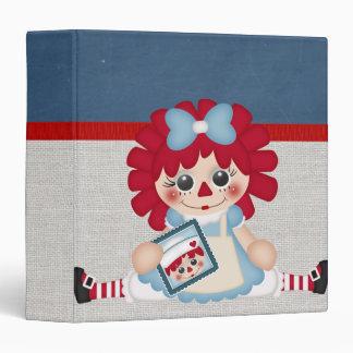 "Muñeca de trapo Raggedy del país femenino adorable Carpeta 1 1/2"""