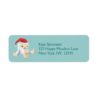 Muñeca de Yeti del navidad que lleva un gorra de Etiqueta De Remite