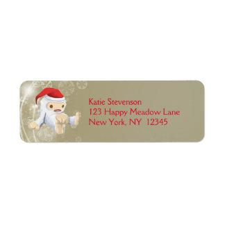 Muñeca de Yeti del navidad que lleva un gorra de Etiqueta De Remitente