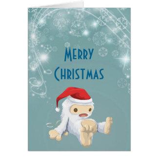 Muñeca de Yeti del navidad que lleva un gorra de Tarjeta De Felicitación