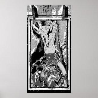 Muñeca del arte popular - negro póster