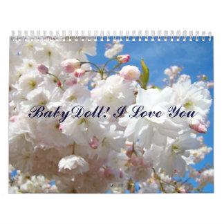¡Muñeca del calendario! Te amo flores del Calendarios De Pared