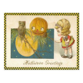 Muñeca del chica de la calabaza de la linterna de postales