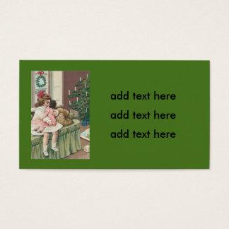 Muñeca del chica del presente del árbol de la tarjeta de negocios