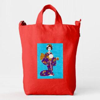 Muñeca del geisha bolsa de lona duck