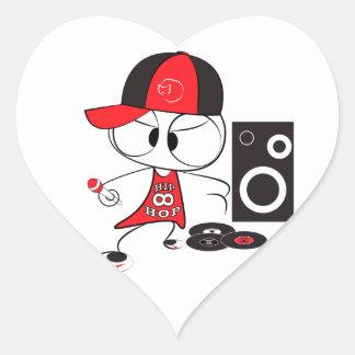 Muñeca del golpeador del hip-hop calcomania corazon