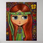 Muñeca del Hippie de la paz Póster