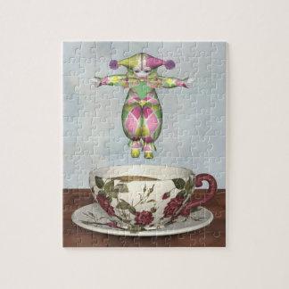 Muñeca del payaso de Pierrot que salta en una taza Rompecabeza Con Fotos