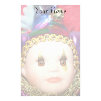 Muñeca del payaso del carnaval inmóvil papeleria personalizada