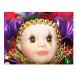 Muñeca del payaso del carnaval postales