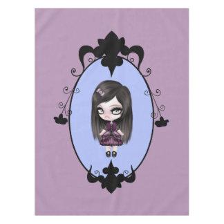 Muñeca gótica del gótico retro mantel