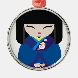 Muñeca japonesa china oriental hermosa adorno navideño redondo de metal