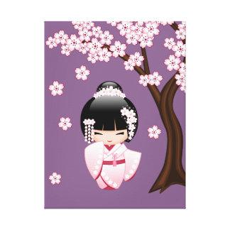Muñeca japonesa de Kokeshi de la novia Impresiones En Lona Estiradas