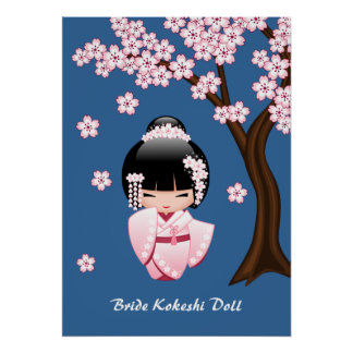 Muñeca japonesa de Kokeshi de la novia Póster