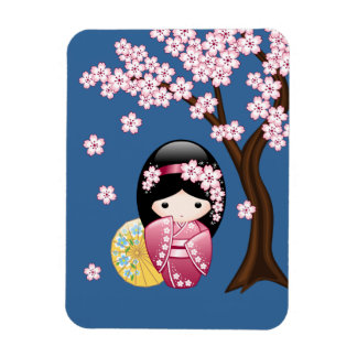 Muñeca japonesa de Kokeshi de la primavera Imán Rectangular