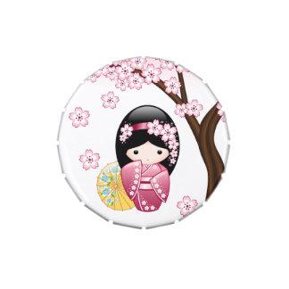 Muñeca japonesa de Kokeshi de la primavera Jarrones De Caramelos