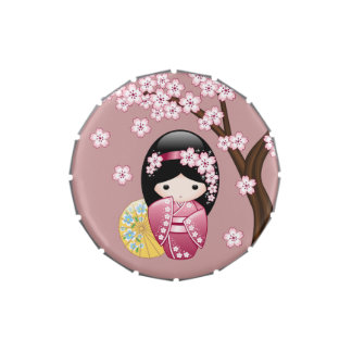 Muñeca japonesa de Kokeshi de la primavera Jarrones De Dulces