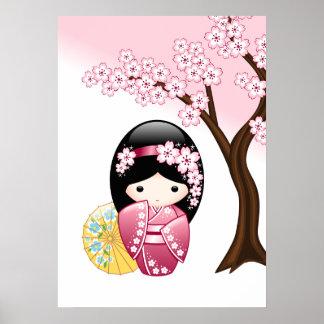 Muñeca japonesa de Kokeshi de la primavera Póster