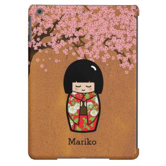 Muñeca japonesa de Kokeshi en kimono rojo con Saku Funda Para iPad Air
