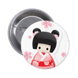 Muñeca japonesa del geisha - botón de la serie de