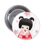 Muñeca japonesa del geisha - botón de la serie de  pins