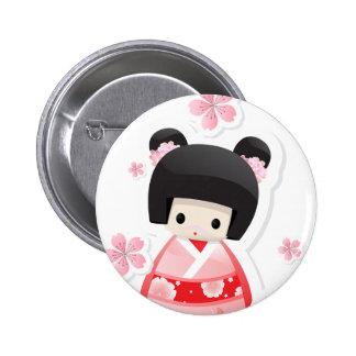 Muñeca japonesa del geisha - botón de la serie de  pin redondo de 2 pulgadas