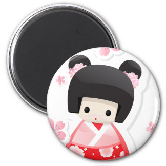 Muñeca japonesa del geisha - serie de los bollos imán para frigorifico