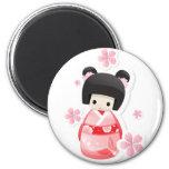 Muñeca japonesa del geisha - serie de los bollos imanes