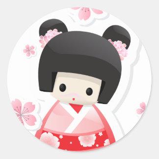 Muñeca japonesa del geisha - serie de los bollos pegatina redonda