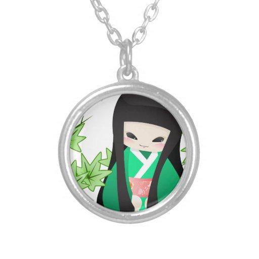 Muñeca japonesa del geisha - serie verde colgante redondo