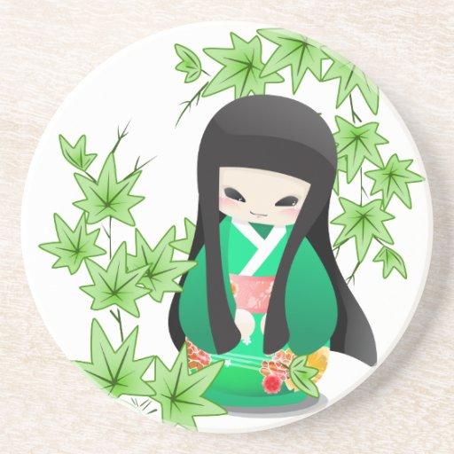 Muñeca japonesa del geisha - serie verde posavaso para bebida