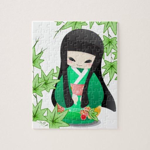 Muñeca japonesa del geisha - serie verde rompecabezas
