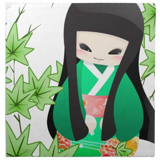 Muñeca japonesa del geisha - serie verde servilletas de papel