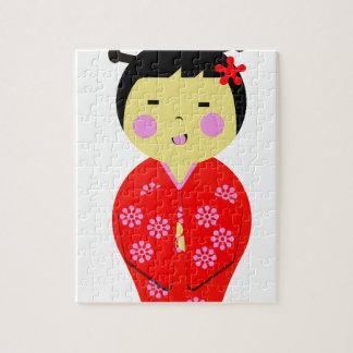 Muñeca japonesa rompecabezas con fotos