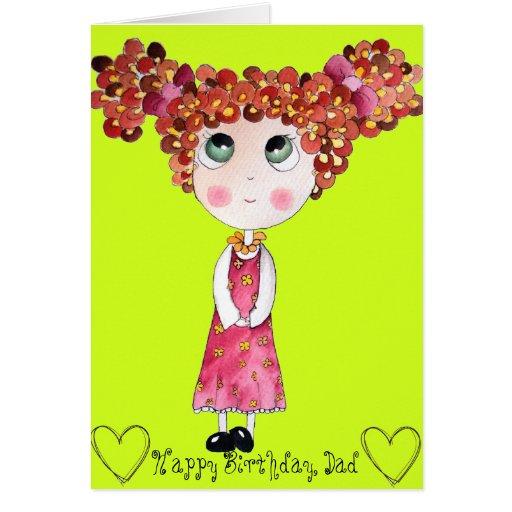 Muñeca linda con la tarjeta de cumpleaños rosada d
