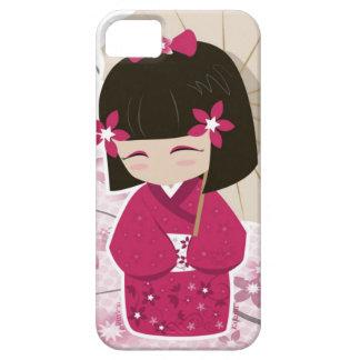 Muñeca linda de Sakura Kokeshi iPhone 5 Funda