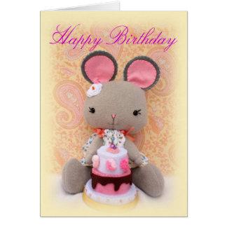 Muñeca linda del chica del ratón con la tarjeta de