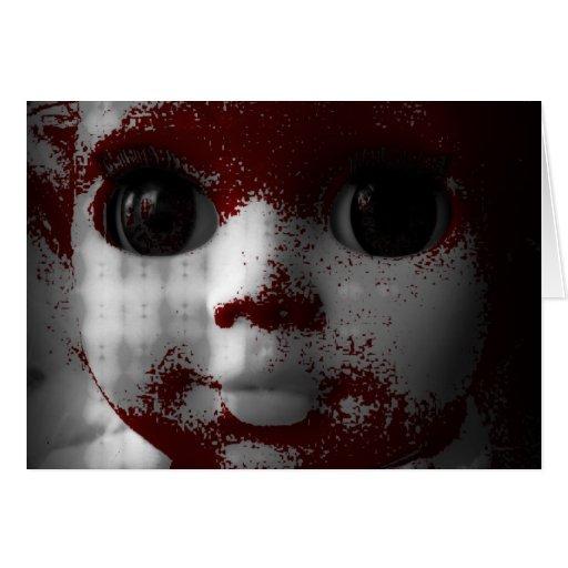 Muñeca muerta viva macabra tarjeta de felicitación