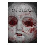 Muñeca pálida de la piel con los ojos rojos sangre invitación 12,7 x 17,8 cm