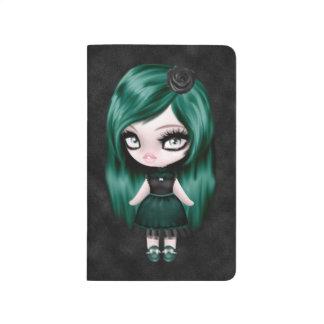 Muñeca retra del gótico femenino magnífico cuaderno grapado