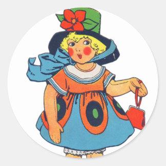 Muñeca retra del juguete del kitsch 30s Toyland Etiquetas Redondas
