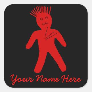 Muñeca roja del vudú calcomanía cuadradas personalizadas