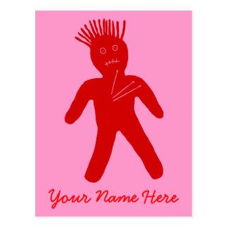 Muñeca roja del vudú tarjetas postales