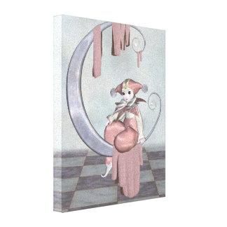 Muñeca rosada del payaso de Pierrot en una luna de Impresiones En Lona Estiradas