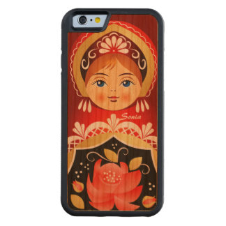 Muñeca rusa roja de Babushka Matryoshka Funda De iPhone 6 Bumper Cerezo