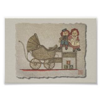 Muñeca y cochecillo de bebé Raggedy Impresión Fotográfica