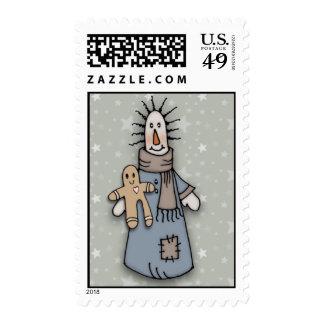 Muñeca y hombre de pan de jengibre remilgados sello