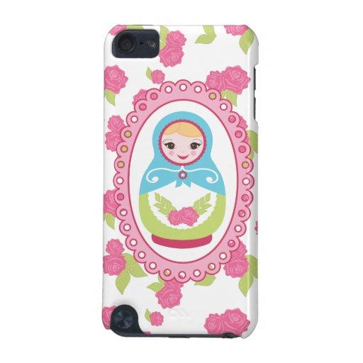 Muñeca y rosas rusos lindos de la jerarquización d funda para iPod touch 5G